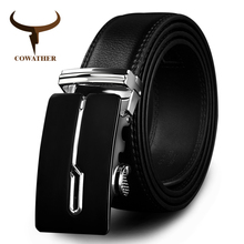 COWATHER 2017 designer belts cow genuine leather belts for men automatic alloy buckle black brown color size 34-44 cz034(China)