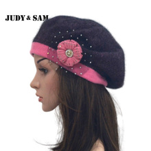Flower Beret 14 Colors Ladies Knit Hats For Women Angora Blend Beanies Caps