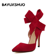 Plus Size Shoes Women Big Bow Tie Pumps 2017 Butterfly Pointed Stiletto Shoes Woman High Heels Wedding Shoes Bowknot advisable(China)