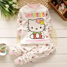 Autumn Baby Boy Girl Clothes Long Sleeve Top + Pants 2pcs Sport Suit Baby Clothing Set Newborn Infant hello kitty Clothing Bebe(China)