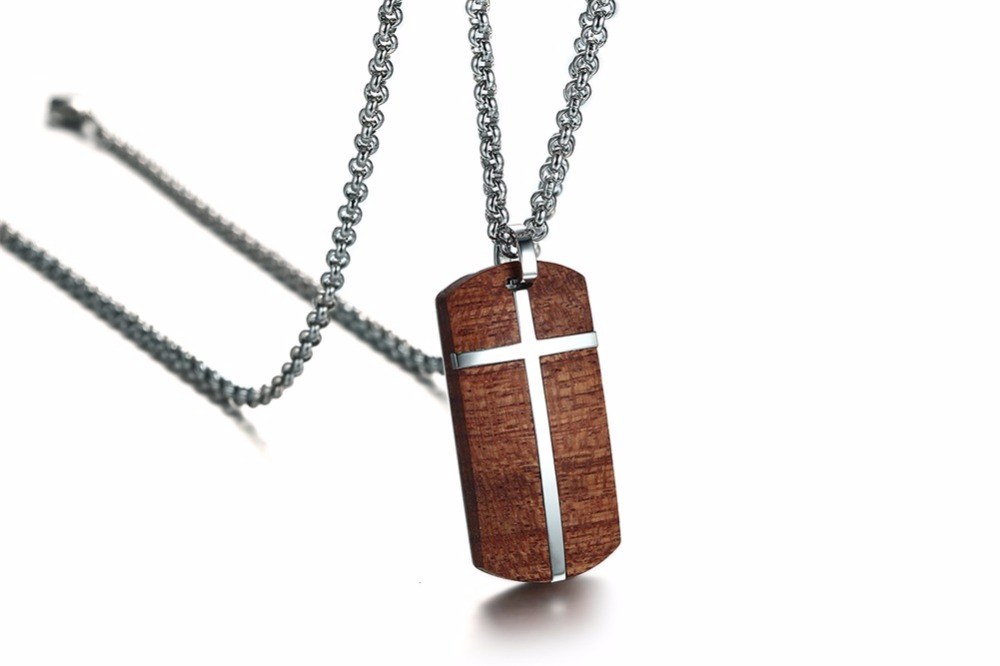 Unique Mens Necklaces Hand Crafted Rosewood Cross Inlay Pendant Necklace Men Wood Jewelry with Stainless Steel 24_ Chain collares collier colar kolye collane 14