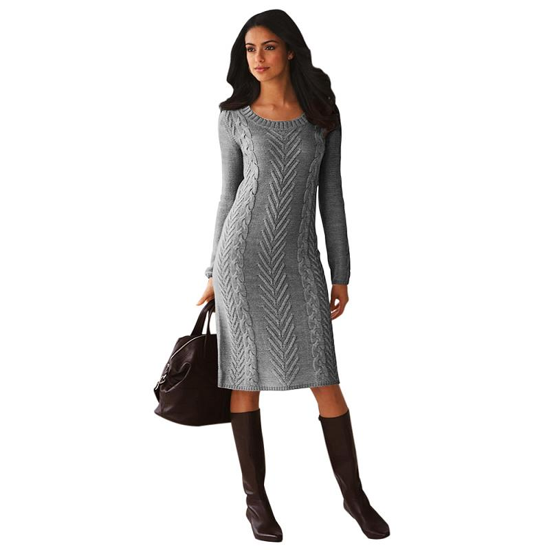ADEWEL 2018 Spring Women Long Sleeve Bodycon Sweater Dress Casual Hand Knitted Midi Dress Elegant Inner Wear Womens Dresses (16)