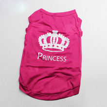 Fashion 1pcs Lovely Summer Useful Pet Shirt Crown Rose Red L Mini Polyester Vest clothes For Pet High Quality(China)