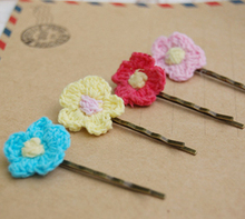 14pcs/lot Fashion Crochet Flower Hair Pin 7 Colors Handmade Fabric Bobby Pins Vintage Hair Accessories for Girls Kids fq023