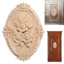Luxury Wooden Doors Carved Furniture Decal Wood Furniture Cabinet Door Applique Fairy Doors Garden Miniatures Woodcarving Decal