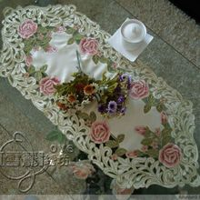 Fabric embroidery l fashion dining table cloth table mat coffee table runner cutout cover towel pink rose