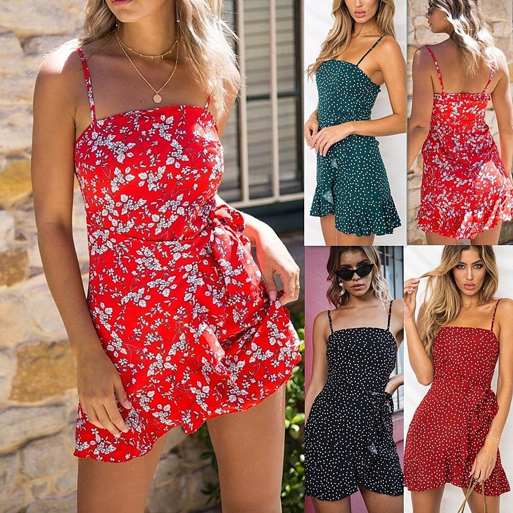 LOSSKY Women Print Beach Strap Ruffles Bodycon Dress Sleeveless Sexy Package Hip Mini Sling Dress Boho Dresses Summer 2018 New 2