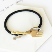 Timlee H142 Free shipping Soup Spoon Fork Hair band Rope Girls Lovely Hair Accessary Gift