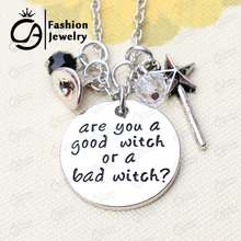 Are you a good witch or a bad witch Witch Hat, Magic Wand Pendant Necklace Christmas Gift Jewelry  #LN1263