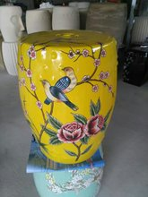 Yellow Porcelain stool Jindezhen bathroom dressing ceramic garden stool Chinese ceramic drum stool bathroom toilet stool