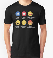 OKOUFEN Brand Printed 100% Cotton T Shirt New Style I Like Beer Funny Emoji Slogan Birthday Present Alcohol Stag Doo(China)