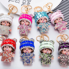 Bling Bling Lovely Monchichi Crystal Hat Keychain Pendant For Car Key Handbag Charms Ornament Novelty Product