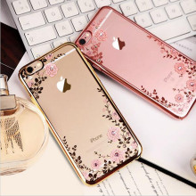 New Luxury Secret Garden Flowers Rhinestone Cell Phone Case For IPhone 7 Plating Rose Gold Case Cover For iphone 7 plus shell(China)