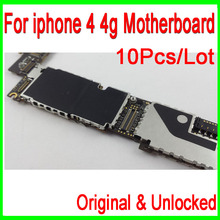 10Pcs/Lot Good Working & Original Unlocked for iphone 4 Motherboard,16gb for iphone 4 4g Mainboard with Chips Free Shipping