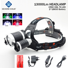 13000Lm CREE XML T6+Red Green UV White LED Headlight Headlamp Head Lamp Head Light Torch +2x4200mAh 18650 Battery+EU/US Charger
