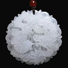Beautiful Genuine Handmade White Carved Dragon Phoenix Pendant+Necklace Fashion Carving Pendants Jewelry