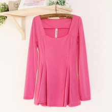 Women Puff Peplum T-shirt Slim Fit Long sleeve Sexy Party Clubwear Tops(China)