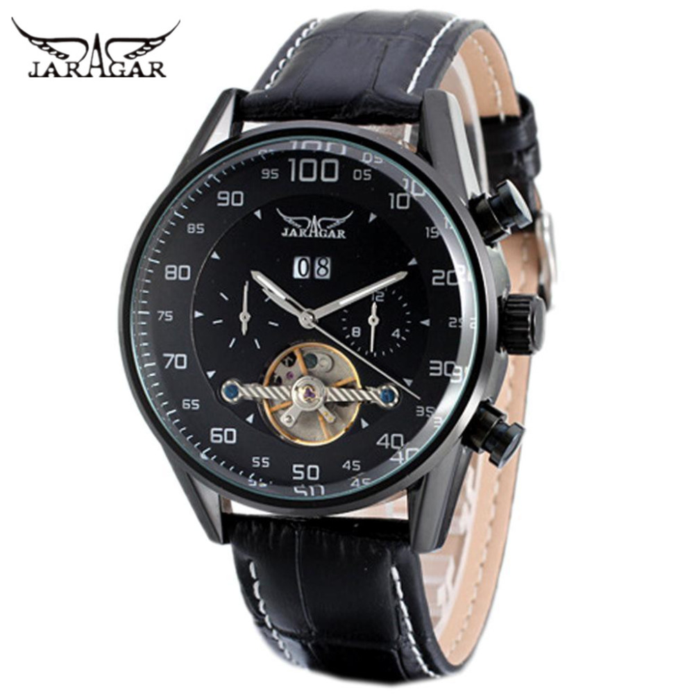JARAGAR Orignal Fashion Mens Day/Month Automatic Mechanical Tourbillon PU Leather Strap Wristwatch Gift Box Free Ship<br>
