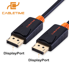 Cabletime DisplayPort Cable 4k 60hz DP to DP Cable Display Port Adapter Cord 1.2 Video Audio 2M for HDTV Projector PC Macbook