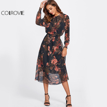 COLROVIE Floral Mesh Dress With Liner Cami 2017 Navy Elegant Women Long Sleeve Midi Dresses O Neck Work Lady Sheer A Line Dress