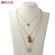 SHEEGIOR Bohemian Gold Multilayer Chain Collier Necklace Women Ethnic style Long Turquoises Pendants & Necklaces Fashion Jewelry