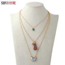 SHEEGIOR Bohemian Gold Multilayer Chain Collier Necklace Women Ethnic style Long Turquoises Pendants & Necklaces Fashion Jewelry(China)