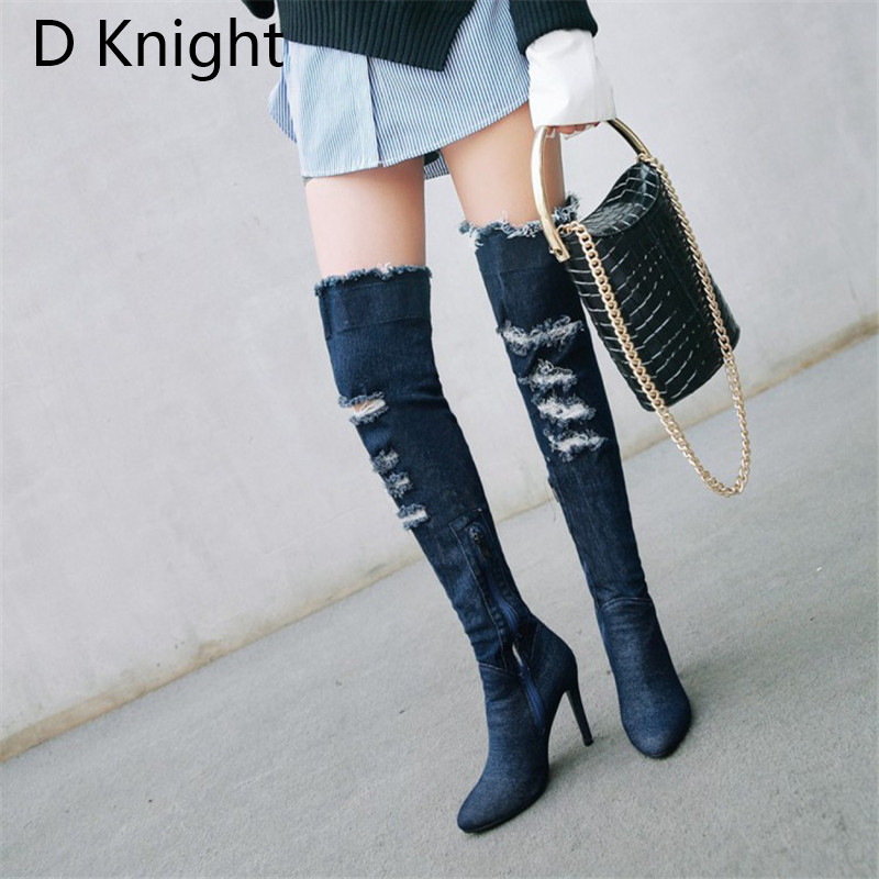 2018 Winter Boots Sexy Ponited Toe Women\`s Over The Knee Boots Fashion Denim Blue thigh High Boots Large Size 48 High Heels Boot (4)