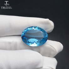 Tbj ,Unique 55.45ct Natural Blue Topaz in oval cutting loose gemstone for gemstone jewelry ,Design your jewelry material(China)