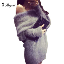 High Quality Slash Neck Off Shoulder Sweater Dress Womens Sexy Long Sleeve Knitted Dresses Winter Long Sweaters Robe Pull Femme