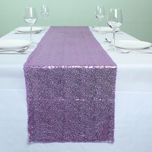 "12"" x 72"" Light Purple Glitter Sequin Table Runners For Wedding Event Party Banquet Table Decoration(China)"