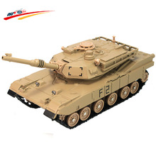 Alloy 1:48 M1A2 Tank Diecast with Barbette 360 Degree Rotate Flashing Front Light Model Gift for Kids Collection