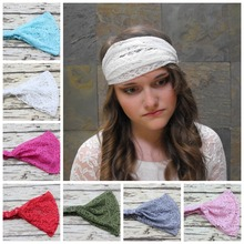 10 pcs/lot , Women's Stretchy Bohemian Wide Lace Headband
