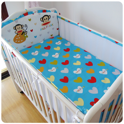 Promotion! 5PCS Mesh  Breathable Mesh baby bedding set cartoon baby crib set Bumper,include(4bumpers+sheet)<br>