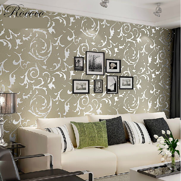 European 3d wallpaper roll for living room background papel de parede flocking for PVC vinyl striped wall paper 3d wallcoverings<br>