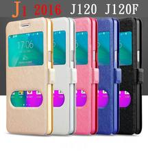 For Samsung Galaxy J1 2016 Case J120F J120FN Glass Window View Cover Quick Flip Case For Samsung J1 2016 Touch Answer Cover Case