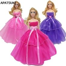 Bowknot Chiffon Doll Dresses For Barbie Doll Evening Gown Doll Clothes Wedding Dress 1/6 Doll Accessories Kids Toy(China)