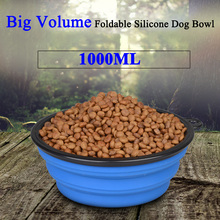 1000ML Big Volume Silicone Dog Bowl Dog Cat Travel Bowl Collapsible Feeding Water Dish Feeder Portable Water Bowl for Pets(China)