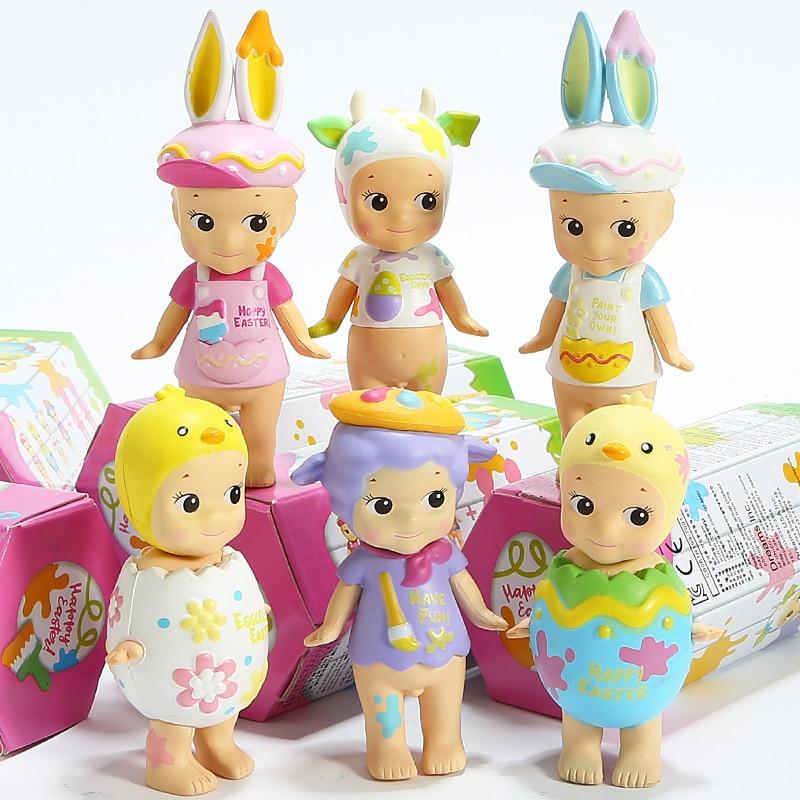 6pcs set Sonny Angel Mini Figure 2018 Version  Happy Easter Series PVC Action Figures Toys Dolls Gift for Kids Children  (1)