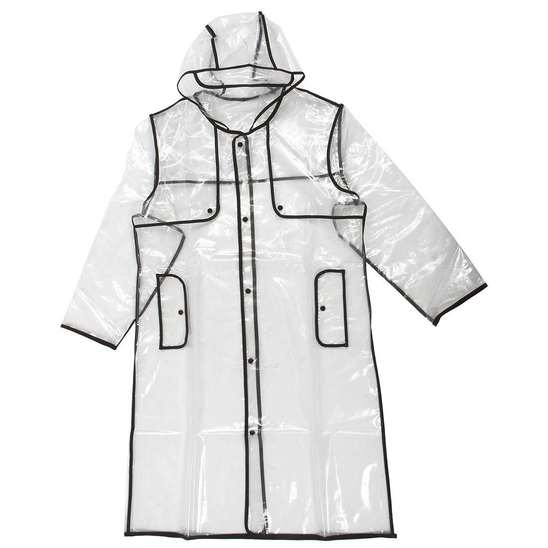 EVA Outdoor Raincoat Lightweight Transparent Fashion Cuff Button Waterproof