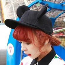 2015 New Fashion Summer Women Black Lovely Sun Hats Cartoon Cute Mouse Big Ears Black Mesh Baseball Caps Female Gorras Snapbacks