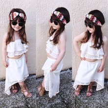 2PCS Baby Girl Clothes Summer Beach Sets Strapless White Crop Top + Lace Skirts 2-6 Y Children Clothing Kids Clothes Suits D30