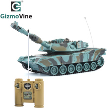 GizmoVine RC Tank Remote Control Toys Battle RC Tank M1A2 Automatic Presentation Tanks Via Musical 1:18 scal rc tanks Kids Gift(China)