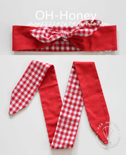 1950s women vintage rockabilly pinup red gingham print headband hairband hair scarf wrap bands accessorie cotton bandana bandeau