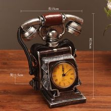 Creative vintage phone personalized seat clock European style living room TV cabinet net bar bar decoration clock Decoration