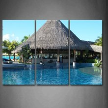 Rest Area Beside The Swimming Pool Wall Art Painting Pictures Print On Canvas City The Picture For Home Modern Decoration