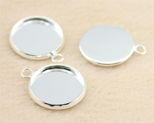 WYSIWYG 10pcs Fit 16mm Round Glass Cabochon Classical Shiny Silver Color Brass Material Cameo Setting DIY Tray H209
