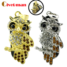 Best selling Jewelry Animal Owl waterproof USB Flash Drive 4GB 8GB 16GB 32GB 64GB necklace gift Pne Drive Pendrive Free Shipping