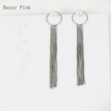 New Long Snake Chains Tassel Pendant Studs Earring For Women Punk Geo Multi Metal Chains Post Earrings Fashion Jewelry Pendietes