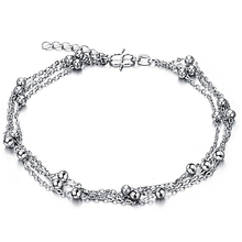 Wholesale Fashion Jewelry Women Accessories Delicate Personalized Trendy Silver Ball Anklets for Women / Lady / Girl Gift DZK206(China)