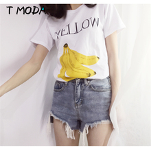 Buy T MODA 2017 New Fashion Women's Yellew Banana Printed White T Shirt Fruits Printed Casual T-Shirt Loose Large Tops Cute Tees for $6.90 in AliExpress store